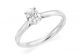 18ct White Gold Oval Cut Diamond Solitaire Ring 0.90ct