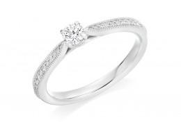 18ct White Gold Round Brilliant Cut Diamond Solitaire Ring 0.34ct