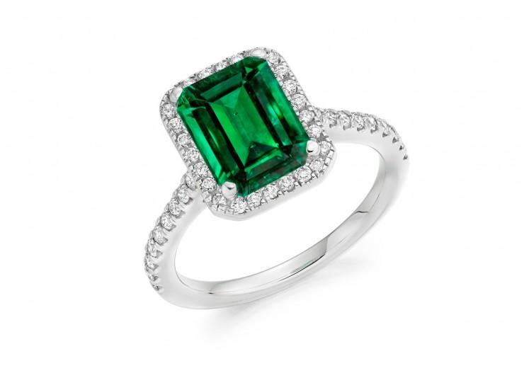 18ct White Gold Emerald & Diamond Round Brilliant & Emerald Cut Cluster Ring 2.23ct