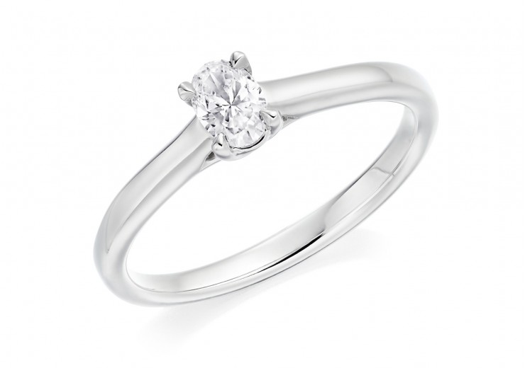 18ct White Gold Oval Cut Diamond Solitaire Ring 0.23ct