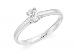 18ct White Gold Oval Cut Diamond Solitaire Ring 0.30ct