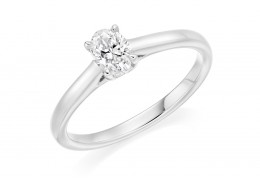 18ct White Gold Oval Cut Diamond Solitaire Ring 0.50ct