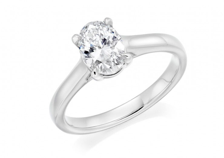 18ct White Gold Oval Cut Diamond Solitaire Ring 1.01ct