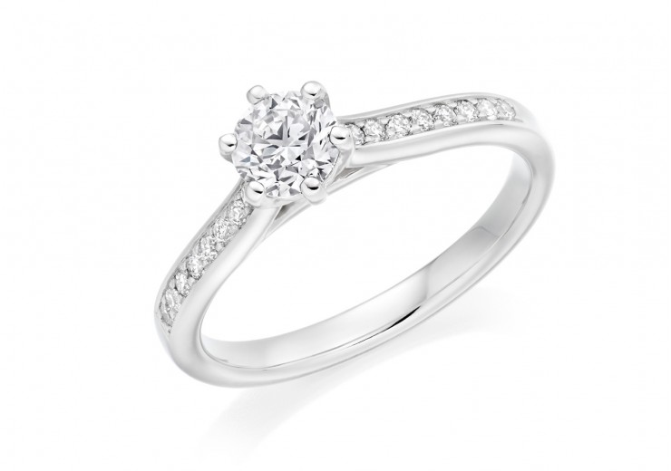 18ct White Gold Round Brilliant Cut Diamond Solitaire Ring 0.65ct