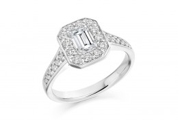 18ct White Gold Emerald & Round Brilliant Cut Diamond Halo Ring 1.31ct