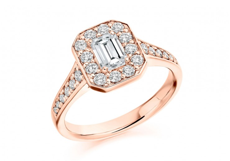 18ct Rose Gold Emerald & Round Brilliant Cut Diamond Halo Ring 1.31ct