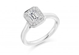 18ct White Gold Emerald & Round Brilliant Cut Diamond Halo Ring 0.87ct
