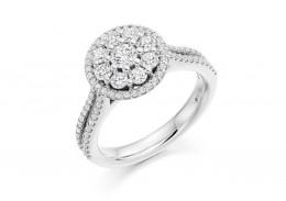 18ct White Gold Round Brilliant Cut Diamond Halo Ring 1ct