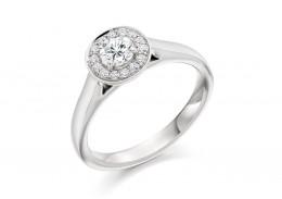 18ct White Gold Round Brilliant Cut Diamond Halo Ring 0.58ct