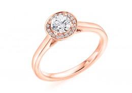 18ct Rose Gold Round Brilliant Cut Diamond Halo Ring 0.58ct