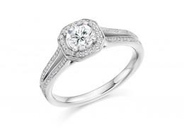 18ct White Gold Round Brilliant Cut Diamond Halo Ring 0.75ct