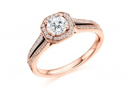 18ct Rose Gold Round Brilliant Cut Diamond Halo Ring 0.75ct