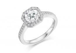 18ct White Gold Round Brilliant Cut Diamond Halo Ring 1.35ct