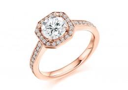 18ct Rose Gold Round Brilliant Cut Diamond Halo Ring 1.35ct