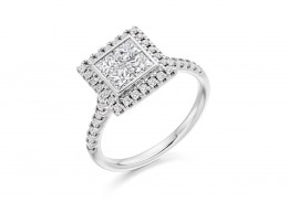 18ct White Gold Princess & Round Brilliant Cut Diamond Halo Ring 1.25ct