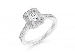 18ct White Gold Emerald & Round Brilliant Cut Diamond Halo Ring 1.02ct