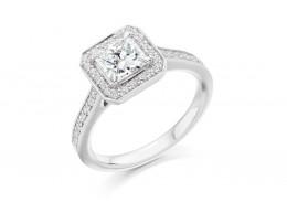 18ct White Gold Princess & Round Brilliant Cut Diamond Halo Ring 1.10ct