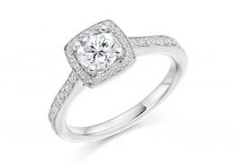 18ct White Gold Round Brilliant Cut Diamond Halo Ring 0.80ct
