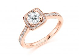 18ct Rose Gold Round Brilliant Cut Diamond Halo Ring 0.80ct