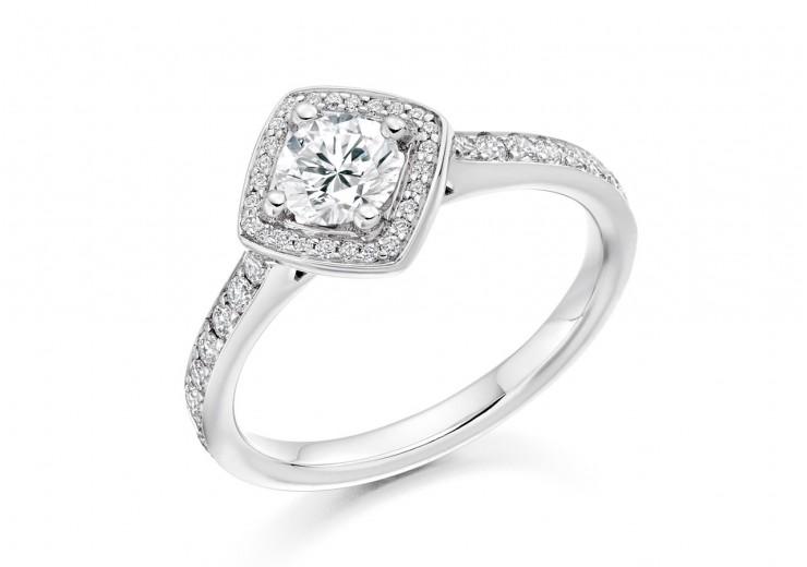 18ct White Gold Round Brilliant Cut Diamond Halo Ring 0.50ct