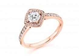 18ct Rose Gold Round Brilliant Cut Diamond Halo Ring 0.50ct