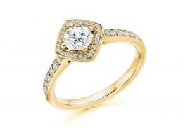 18ct Yellow Gold Round Brilliant Cut Diamond Halo Ring 0.50ct