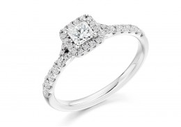 18ct White Gold Princess Cut Diamond Halo Ring 0.58ct