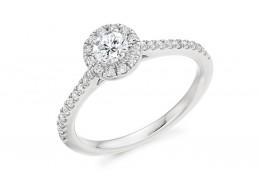 18ct White Gold Round Brilliant Cut Diamond Halo Ring 0.55ct