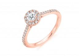 18ct Rose Gold Round Brilliant Cut Diamond Halo Ring 0.55ct