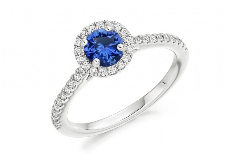 18ct White Gold Sapphire & Diamond Round Brilliant Cut Cluster Ring 0.97ct