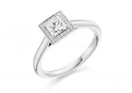 18ct White Gold Princess & Round Brilliant Cut Diamond Halo Ring 0.58ct