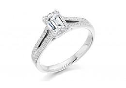 18ct White Gold Emerald & Round Brilliant Cut Diamond Solitaire Ring 0.80ct