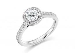 18ct White Gold Round Brilliant Cut Diamond Halo Ring 1.03ct
