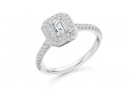 18ct White Gold Emerald & Round Brilliant Cut Diamond Halo Ring 0.80ct