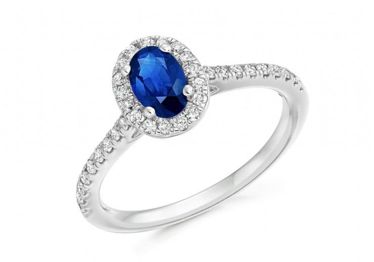 18ct White Gold Sapphire & Diamond Oval & Round Brilliant Cut Cluster Ring 0.95ct