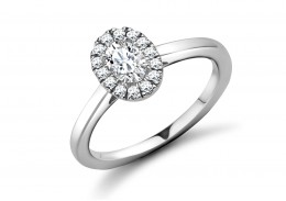 18ct White Gold Oval & Round Brilliant Cut Diamond Halo Ring 0.45ct