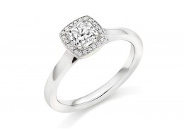 18ct White Gold Cushion & Round Brilliant Cut Diamond Halo Ring 0.62ct