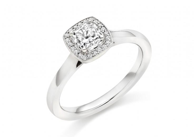 18ct White Gold Cushion & Round Brilliant Cut Diamond Halo Ring 0.62ct