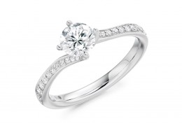 18ct White Gold Round Brilliant Cut Diamond Ring 1.05ct