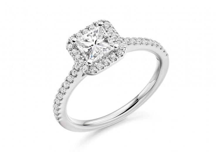 18ct White Gold Princess Cut Diamond Halo Ring 0.85ct