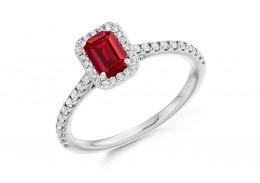 18ct White Gold Ruby & Diamond Emerald & Round Brilliant Cut Cluster Ring 0.80ct