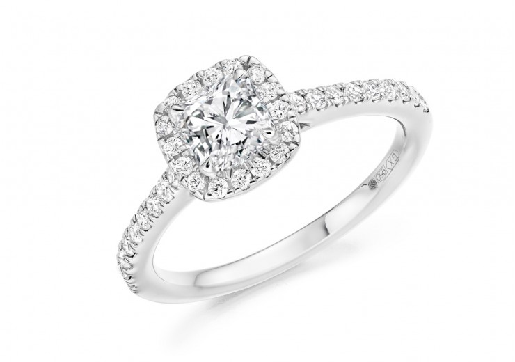 18ct White Gold Cushion & Round Brilliant Cut Diamond Halo Ring 1.05ct