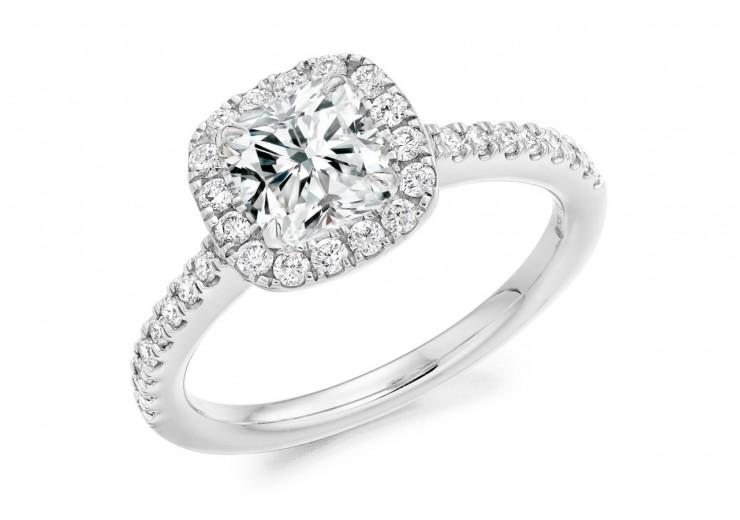 18ct White Gold Cushion Cut Diamond Halo Ring 1.40ct