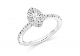 18ct White Gold Marquis Cut Diamond Halo Ring 0.60ct
