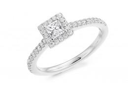 18ct White Gold Princess Cut Diamond Halo Ring 0.55ct