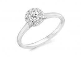 18ct White Gold Round Brilliant Cut Diamond Halo Ring 0.38ct