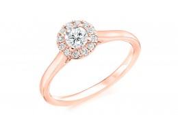 18ct Rose Gold Round Brilliant Cut Diamond Halo Ring 0.38ct