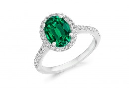 18ct White Gold Emerald & Diamond Oval & Round Brilliant  Cut Cluster Ring 2.14ct