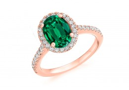 18ct Rose Gold Emerald & Diamond Oval & Round Brilliant Cut Cluster Ring 2.14ct