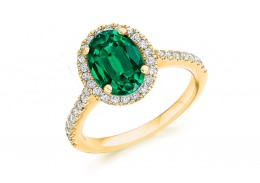 18ct Yellow Gold Emerald & Diamond Oval & Round Brilliant Cut Cluster Ring 2.14ct